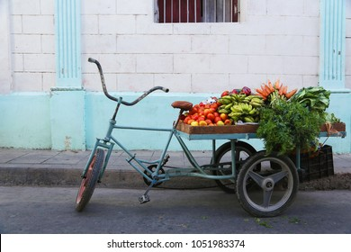 Barrow of a street greengrocer in a street of Camaguey, Cuba