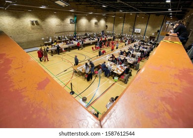 Barry, Wales, UK. December 13th 2019. A wide-angle view at the general election vote count for the Vale of Glamorgan at Barry Leisure Centre.