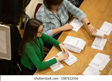 Barry, Wales, UK. December 13th 2019. Voting slips are counted during the general election vote count for the Vale of Glamorgan at Barry Leisure Centre.