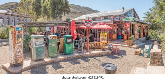 BARRYDALE, SOUTH AFRICA - MARCH 25, 2017: Historic fuel dispensers at the Diesel and Creme restaurant in Barrydale, a small town on the scenic Route 62 in the Western Cape Province
