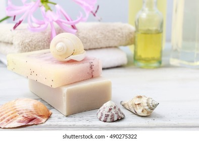 Bars of handmade soap and shells