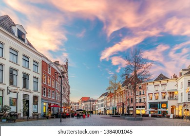 Bars and restaurants during sunset on the Houtmarkt square in Zutphen, The Netherlands