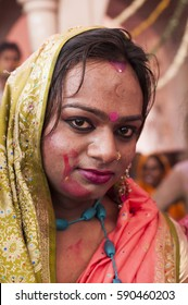 BARSANA, INDIA 21 MARCH 2013 : Portrait of unidentified transgender or hijra celebrating the traditional and ritualistic Holi at Radha Rani temple.