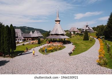 Barsana , Maramures, Romania - August 8, 2020. Famous Barsana Monastery in Maramures County, Romania