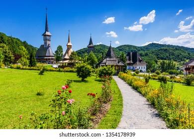 Barsana, Romania. Wooden churches at Barsana Monastery. Maramures region.