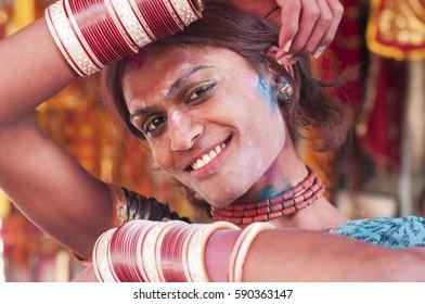 BARSANA, UTTAR PRADESH, INDIA 21 MARCH 2013 : Portrait of unidentified transgender or hijra celebrating the traditional and ritualistic Holi at Radha Rani temple.