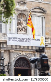 Barselona, Spain - August 30, 2018 - Building of the Generalitade Catalunya with a banner demanding to release political prisoners