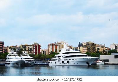 Barselona, Spain - June 4, 2018: Yachts on a mooring