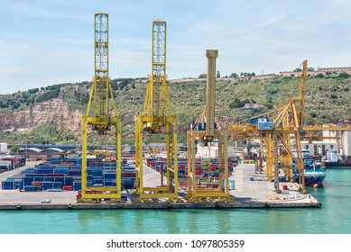 Barselona, Spain - May 16, 2017: View of the commercial port of Barcelona, Catalonia, Spain. It is Spain's third and Europe's ninth largest container port.