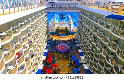 Barselona, Spaine - September, 6 2015:  The ship Royal Caribbean, Allure of the Seas