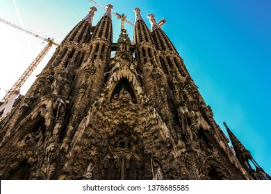 Barselona, Spain,November 14, 2017. The Basilica redemptive Temple of the Holy family Sagrada by  Antonio Gaudi,  sunny day against the sky, no people
