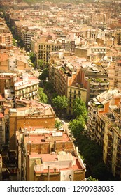 Barselona street view from above. Sunny