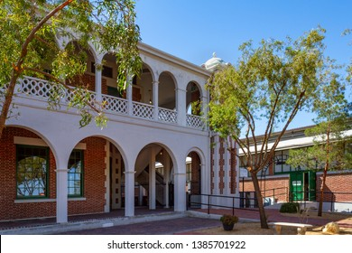 Barstow, CA / USA – April 14, 2019: Barstow Harvey House located at 685 North 1st Avenue in Barstow, California, is home to the Western America Railroad Museum.