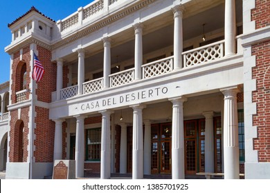 Barstow, CA / USA – April 14, 2019: Casa Del Desierto, also known as the Barstow Harvey House, is a historical landmark located at 685 North 1st Avenue in Barstow, California.