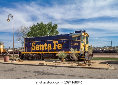 Barstow, CA / USA – April 14, 2019: Santa Fe railroad engine number 1460 at the Western America Railroad Museum located at the Barstow Harvey House at 685 North 1st Avenue in Barstow, California.