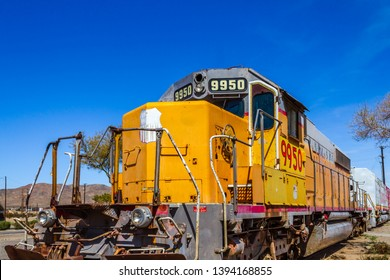 Barstow, CA / USA – April 14, 2019: Union Pacific railroad engine number 9950 at the Western America Railroad Museum located at the Barstow Harvey House at 685 North 1st Avenue in Barstow, California.