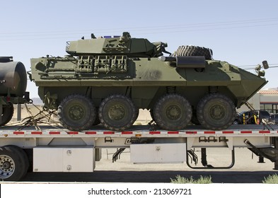 BARSTOW, CA, USA - JUNE 29, 2014: LAV-25 (Light Armored Vehicle) is an eight-wheeled amphibious reconnaissance vehicle used by the United States Marine Corps