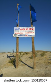 BARSTOW, CALIFORNIA - CIRCA 2004: 40 acres for sale sign in the desert of Southern California near Barstow California