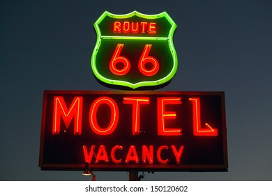 BARSTOW, CALIFORNIA - JULY 29: Route 66 Neon sign at night on July 29, 2004 in Barstow California