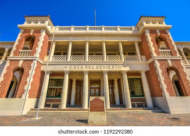 Barstow, California, USA - August 15, 2018: Barstow Harvey House or Harvey House Railroad Depot and Barstow Station, is a historic building that served as Hotel and Santa Fe Railroad depot.