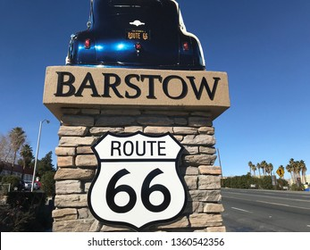 Barstow, California, USA. January 22, 2019. Route 66 Sign when entering the city of Barstow California.