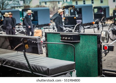 Bart, PA - March 5, 2011: Amish wagons and buggies for sale at annual fire company mud sale in Lancaster County.