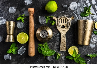 Bartender and barman tools for making cocktails and drinks.