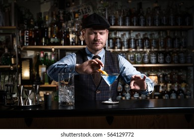 Bartender is decorating a drink