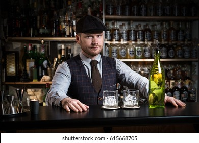 bartender with a drink