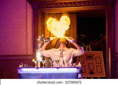 Bartender performance, burning heart with alcohol drinks, barman show