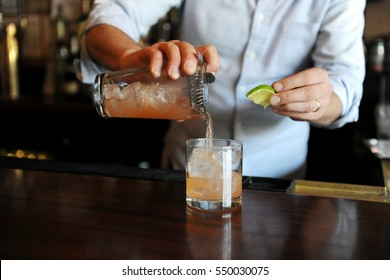 Bartender preparing a drink