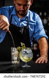 Bartender preparing a gin tonic cocktail