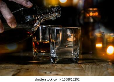 Bartender Serve Whiskey, on wood