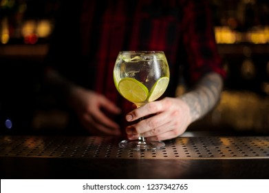 Bartender serving Gin Tonic cocktail decorated with lime slices standing on the steel bar counter on the blurred background