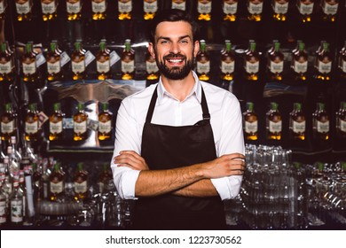 Bartender is your buddy. Handsome young man in apron looking at camera with smile while standing at the bar counter