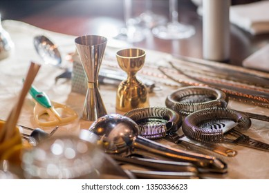 bartender's tools on the table