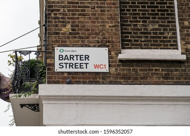 Barter Street name sign, London Borough of Camden, UK. A street name sign is a type of traffic sign used to identify named roads