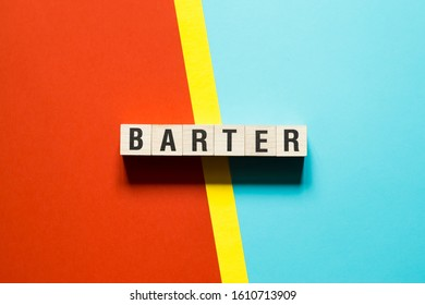 Barter word concept on cubes