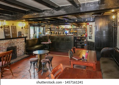 Barthomley, Cheshire/England UK - 07.20.2019: Interior of The White Lion Inn half timbered and thatched Jacobean pub dating from 1614.