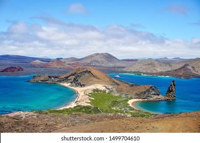 Bartolome Island in the Galapagos, Pinnacle Rock.