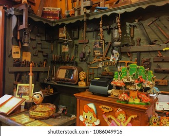 Bartolucci, Rome, Italy - December 26, 2017: One of the best souvenir store for traditional Italian figure Pinocchio.
