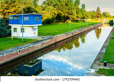 Bartoszowice Lock, Wroclaw - Poland / 2020-07-19: Chamber water lock, located on the Odra River as part of the Wrocław Water Junction. The lock was built in 1914.