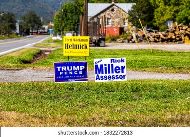 Bartow, USA - October 6, 2020: Town in West Virginia countryside rural and sign on lawn for Trump Pence political election in Durbin Frank area