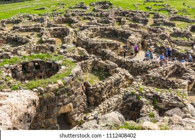 "BARUMINI, Sardinia, Italy - april 30, 2018: Nuraghe ""Su Nuraxi"" in Barumini, Sardinia, Italy. View of archeological nuragic complex of Su Nuraxi di Barumini. UNESCO World Heritage List"