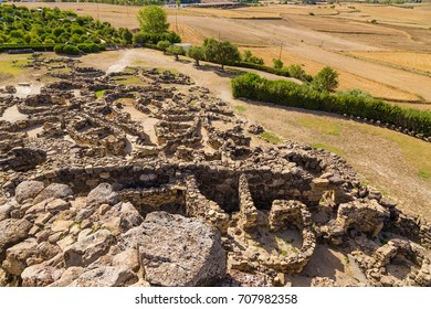 "Barumini, Sardinia, Italy. Kind of fortifications and ""villages"" from the central tower of the nuragic archeological complex of Su Nuraxi di Barumini. UNESCO World Heritage List"