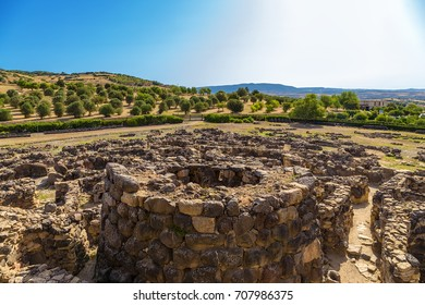 Barumini, Sardinia, Italy. Ruins of the prehistoric nuragic complex Su Nuraxi. UNESCO World Heritage List