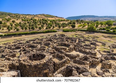 Barumini, Sardinia, Italy. View of archeological nuragic complex of Su Nuraxi di Barumini. UNESCO World Heritage List
