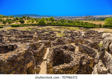 Barumini, Sardinia, Italy. View of prehistoric nuragic complex of Su Nuraxi  di Barumini. UNESCO World Heritage List
