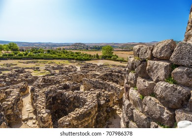 Barumini, Sardinia, Italy. View of the prehistoric nuragic complex of Su Nuraxii. UNESCO World Heritage List
