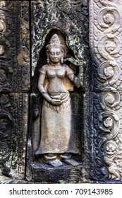 Bas relief at ancient buddhist khmer temple near Siem Reap, Cambodia